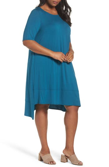 Plus Size Eileen Fisher Jersey Shift Dress, Blue
