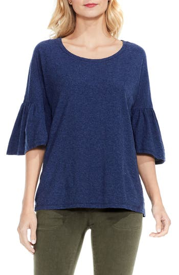 Two By Vince Camuto Relaxed Bell Sleeve Cotton Tee, Blue