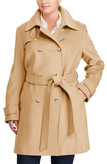 Plus Size Lauren Ralph Lauren Wool Blend Trench Coat, Brown
