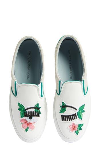 Chiara Ferragni Flower Power Slip-On Sneaker White