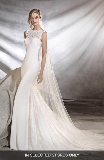 Pronovias Oreste Crepe & Lace Mermaid Gown