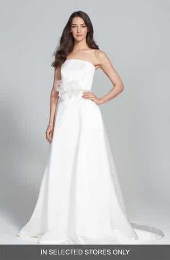 Jesus Peiro Illusion Overlay Bodice Embellished Waist Satin Dress