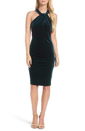 Taylor Dresses Velvet Twisted Halter Dress