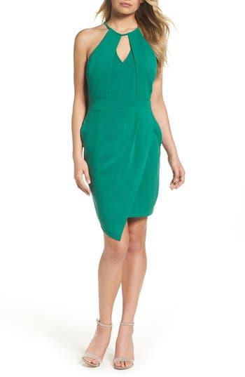 Adelyn Rae Halter Sheath Dress, Green