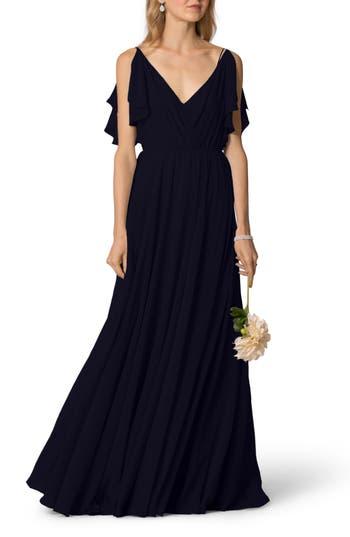 Jenny Yoo Cassie Flutter Sleeve Chiffon A-Line Gown, Blue