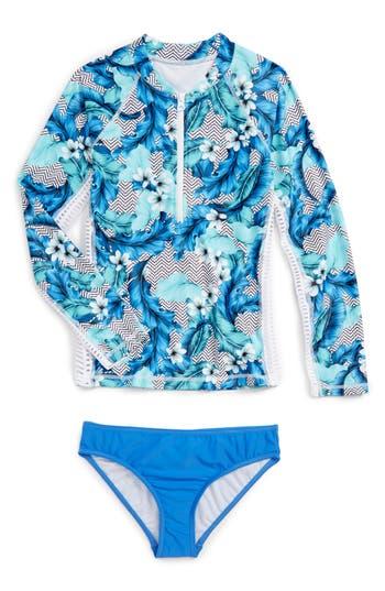 Girl's Seafolly Jungle Geo Two-Piece Rashguard Swimsuit