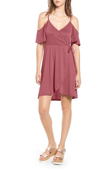 Women's Socialite Faux Wrap Cold Shoulder Dress, Size X-Small - Pink