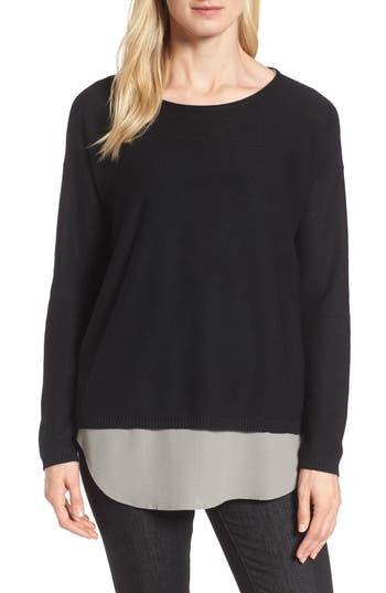 Eileen Fisher Tencel & Wool Boxy Sweater, Black