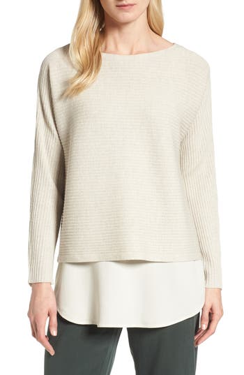 Eileen Fisher Boxy Ribbed Wool Sweater, Beige