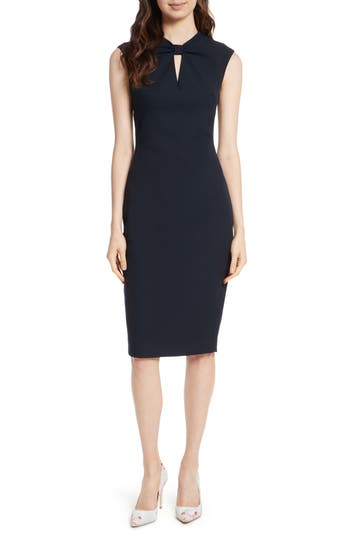 Ted Baker London Kezzia Bow Neck Body-Con Dress, Blue