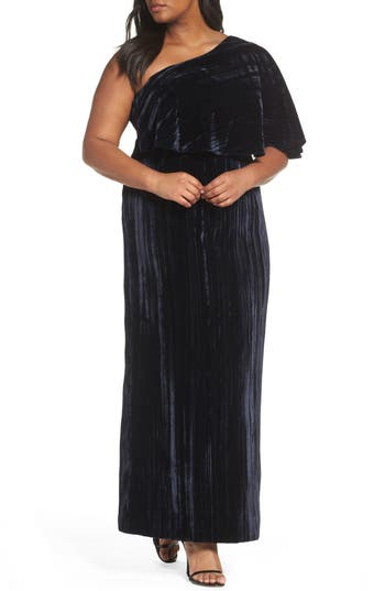Plus Size Adrianna Papell One-Shoulder Velvet Gown, Blue
