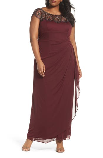Plus Size Xscape Beaded Neck Empire Gown, Red