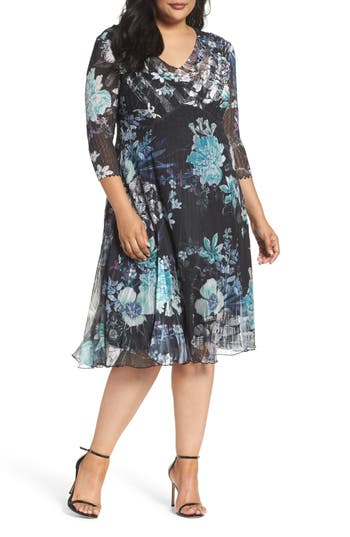 Plus Size Komarov Print Chiffon Dress, Blue