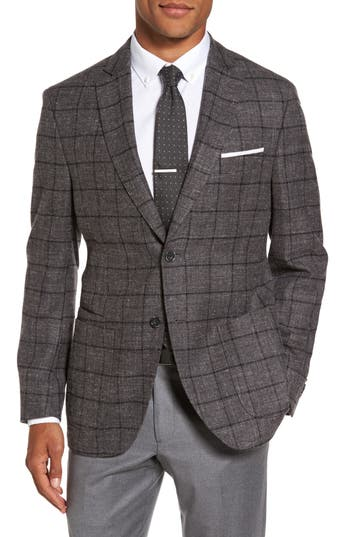 Men's Jkt New York Trim Fit Windowpane Wool Blend Sport Coat