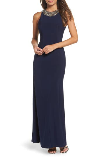 Lulus Pledging My Love Beaded Gown, Blue