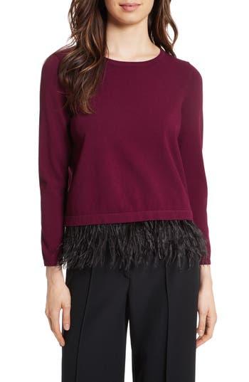 Women's Milly Feather Trim Sweater, Size Petite - Burgundy