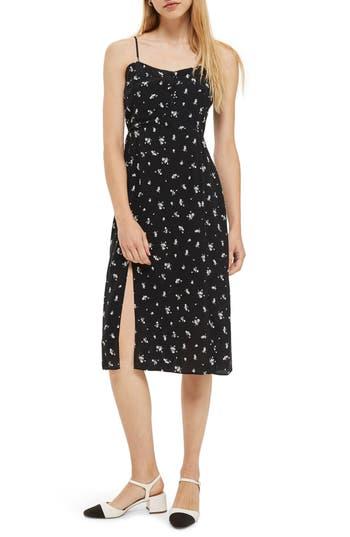 Topshop Scatter Floral Button Dress, US (fits like 0) - Black