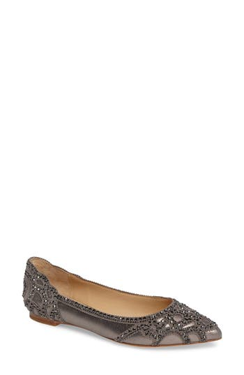 Badgley Mischka Gigi Crystal Pointy Toe Flat, Metallic