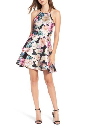 Speechless Floral Skater Dress, Black