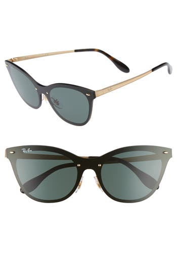 Women's Ray-Ban Blaze 58Mm Mirrored Cat Eye Sunglasses - Gold/ Green