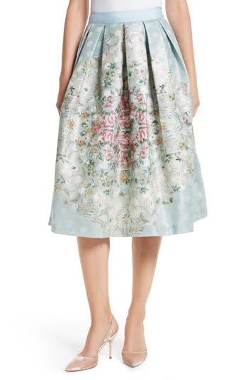Women's Ted Baker London Kikey Pleated Metallic Skirt, Size 0 - Blue