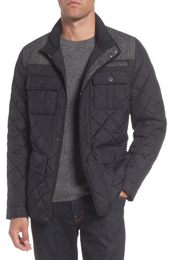 Vince Camuto Diamond Quilted Full Zip Jacket, Black (Online Only)