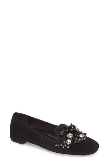 Women's Miu Miu Embellished Loafer, Size 5US / 35EU - Black