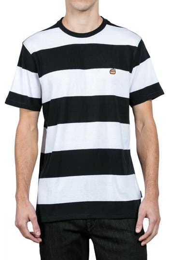 Volcom X Burger Records Stripe T-Shirt, White