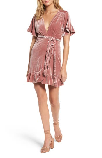 Women's Misa Los Angeles Desma Velvet Wrap Dress, Size X-Small - Pink