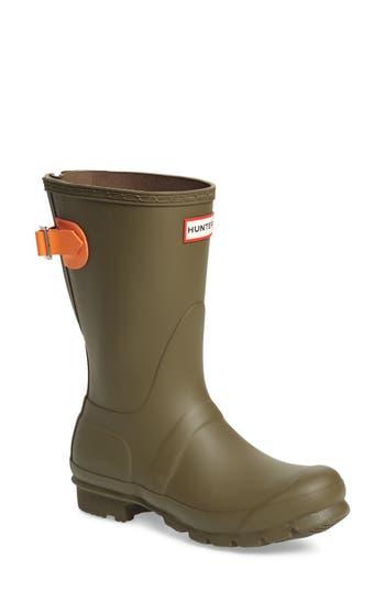 Hunter Original Short Back Adjustable Rain Boot, Green