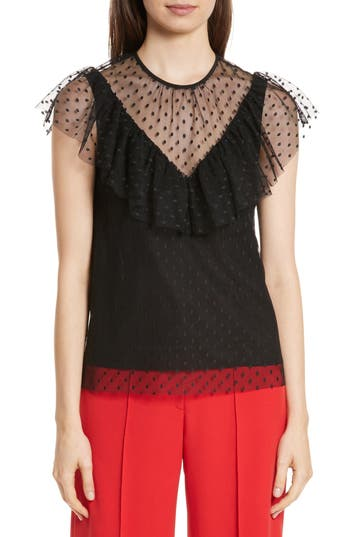 Women's Milly Helena Dot Tulle Top, Size Large - Black