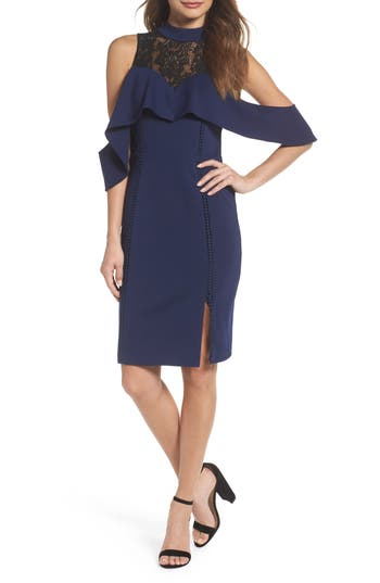 Adelyn Rae Hadyn Cold Shoulder Sheath Dress, Blue
