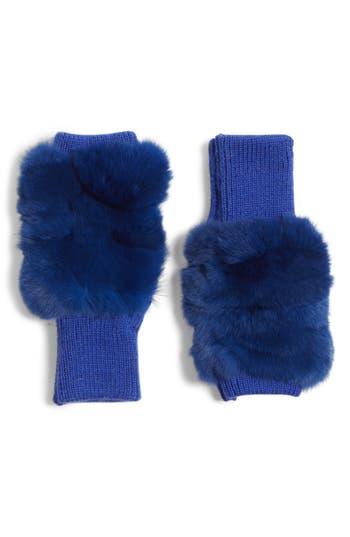 Jocelyn Genuine Rabbit Fur Fingerless Knit Mittens, Size One Size - Blue