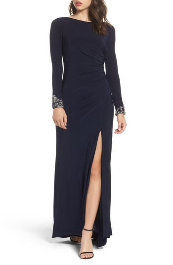 Eliza J Beaded Sleeve Ruched Jersey Gown, Blue