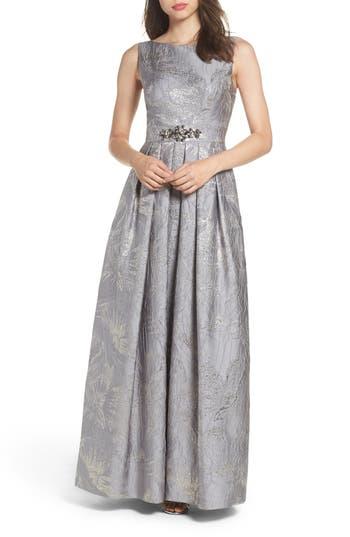 Eliza J Embellished Brocade Ballgown, Metallic