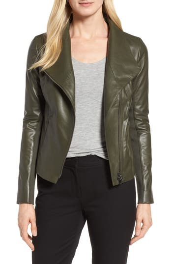 Women's Nordstrom Signature Stand Collar Leather Jacket