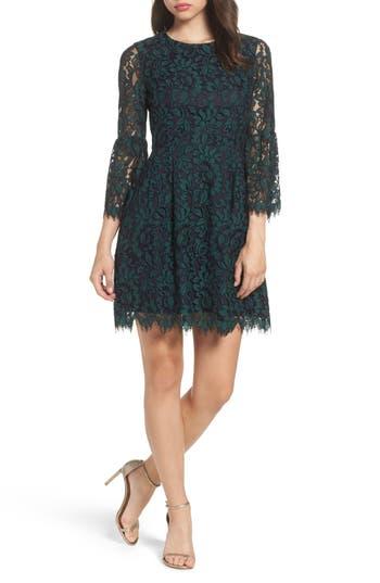 Eliza J Lace Fit & Flare Dress, Green