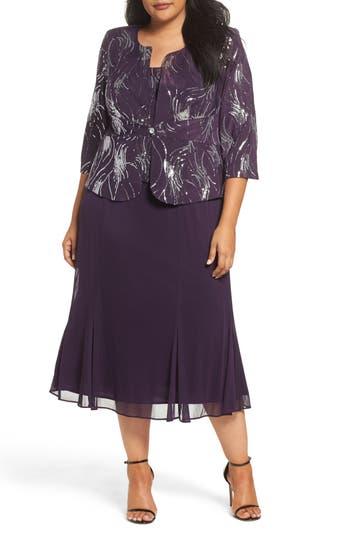 Plus Size Alex Evenings Sequin Mock Two-Piece Dress With Jacket, Purple