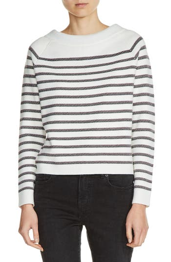 Women's Maje Bow Back Stripe Sweater, Size 1 - Ivory