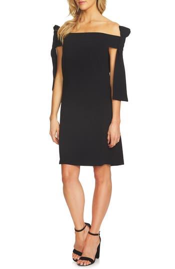 Cece Bow Tie Off The Shoulder A-Line Dress, Black