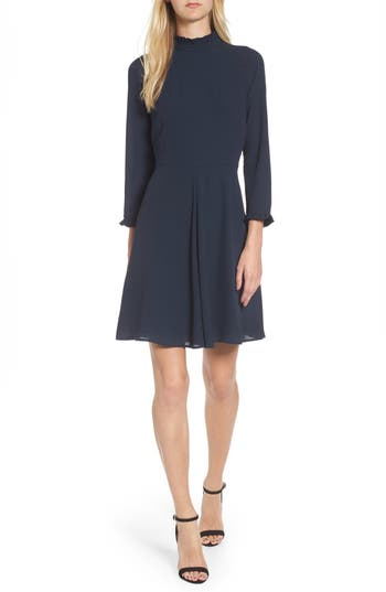 Chelsea28 Mock Neck Fit & Flare Dress, Blue