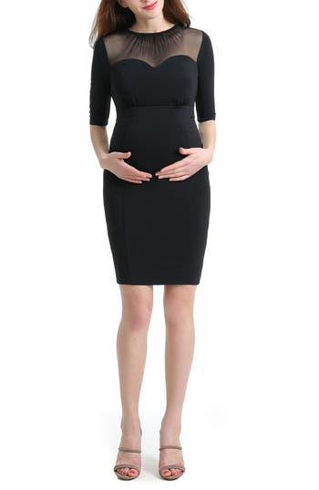 Kimi And Kai Tiffany Mesh Yoke Maternity Body-Con Dress