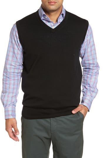 Peter Millar Crown Merino Blend Knit Vest, Black