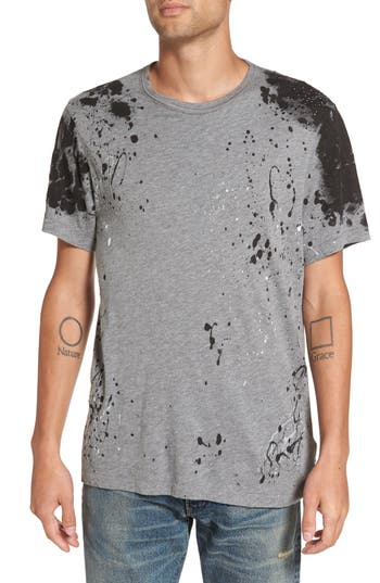 True Religion Brand Jeans Embellished Splatter Print T-Shirt, Grey