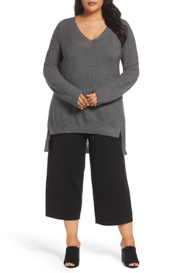 Plus Size Eileen Fisher High/low Merino Wool Sweater, Grey