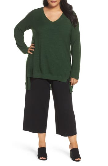 Plus Size Eileen Fisher High/low Merino Wool Sweater, Green