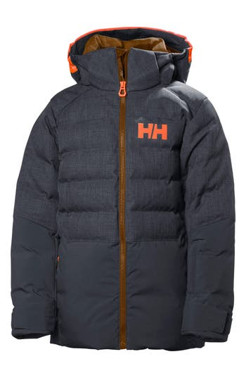Boys Helly Hansen Jr. North Waterproof  Windproof 480Fill Power Down Jacket Size 8  Blue