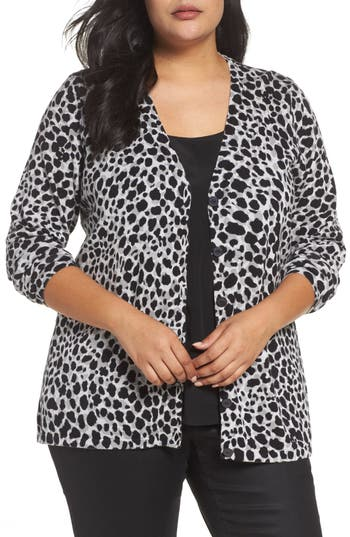 Plus Size Women's Foxcroft Maya Leopard Print Cotton Cardigan