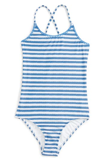 Girl's Seafolly Sapphire Coast One-Piece Swimsuit, Size 8 - Blue