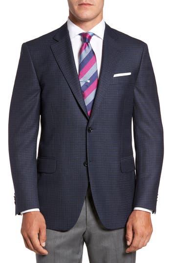 Big & Tall Peter Millar Flynn Classic Fit Check Wool Sport Coat, 4 R - Blue